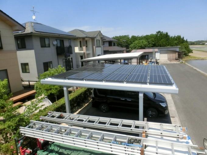 ガレージ屋根太陽光発電工事 S様 島根県出雲市斐川町 写真